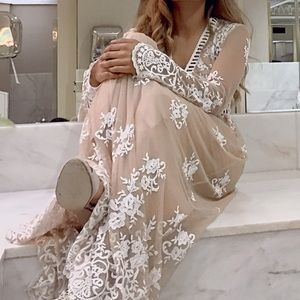Nude maxi dress with embroidery